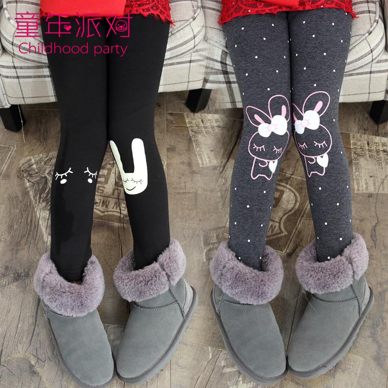 女童打底裤秋冬季新款加绒加厚外穿长裤儿童黑色保暖冬装女孩裤子