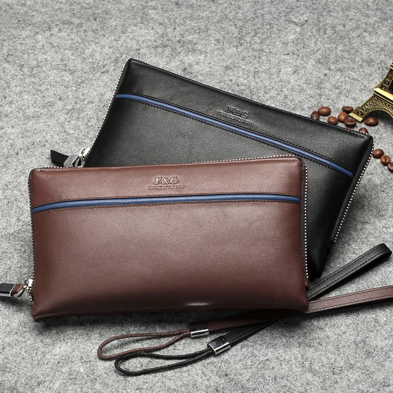 FG2015新款男士手包软牛皮夹包正品男包真皮手拿包商务大容量皮包