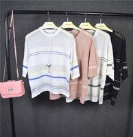 16年夏季韩版宽松条纹短袖薄针织衫女套头圆领T恤上衣罩衫防晒衣