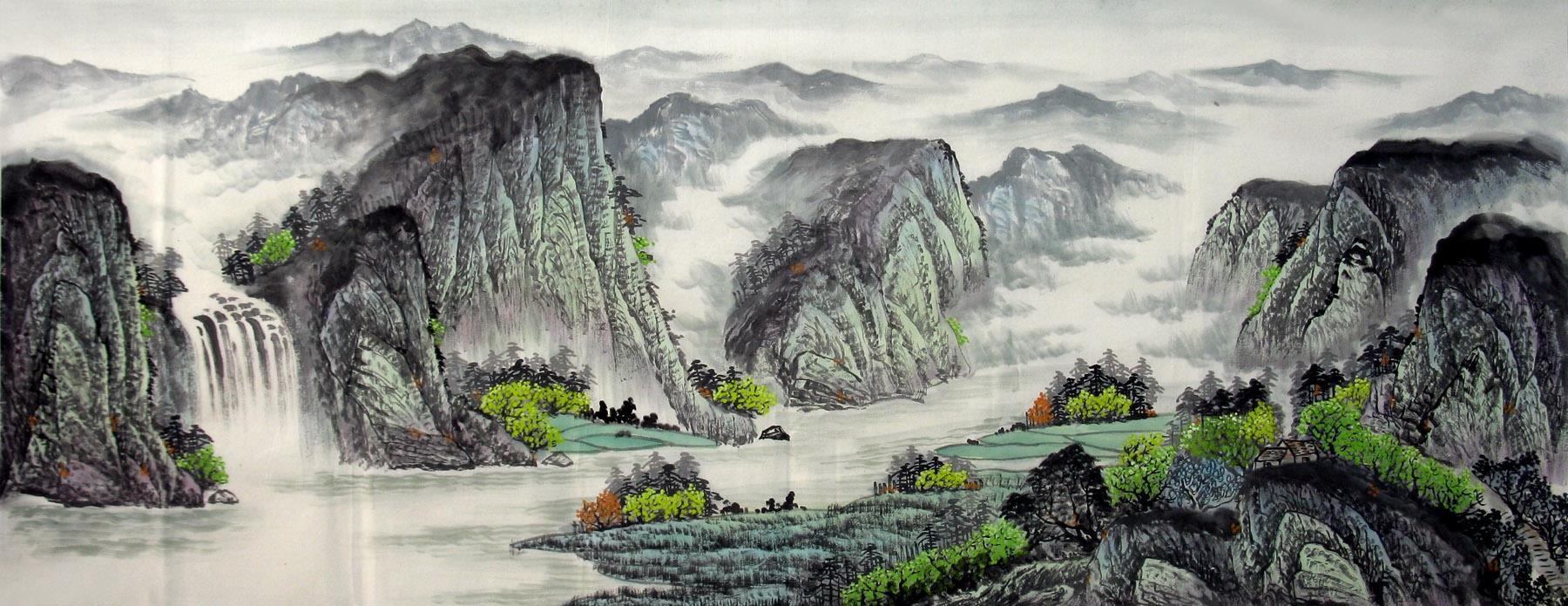 香山画廊中国写意山水画欣耕手绘真迹小六尺无款作品b14-6-14-26图片