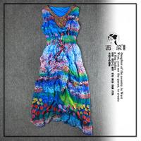 欧美大牌印花色重磅真丝连衣裙女2015夏季波西米亚沙滩长裙背心裙