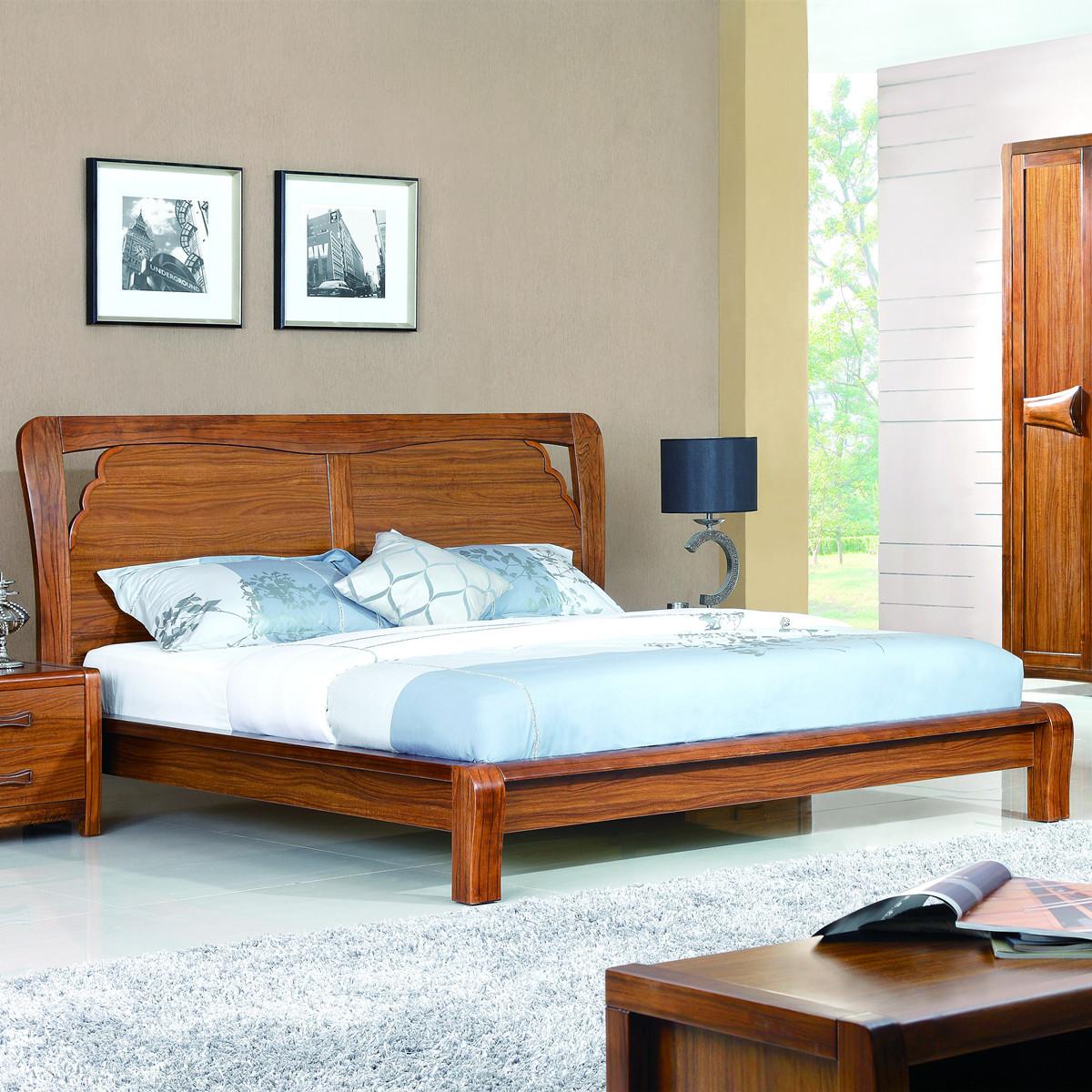 原木家具卧室_乌金木实木家具简约现代中式卧室1.8 1.5米带高箱双人床婚床大床