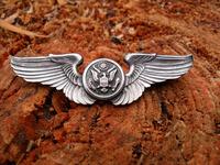 美国代购二战原品老银 米军USAF空中军3英寸纯银鹰式飞行翅膀徽章