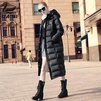 白鹅绒女装长款羽绒服女长过膝2017新款冬装羽绒大衣加厚大码外套