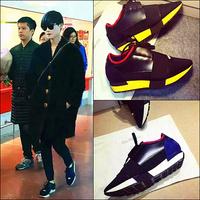 欧美2015新李宇春同款真皮拼色运动休闲鞋透气网面内增高跑鞋单鞋
