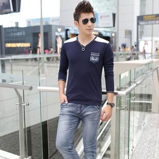 2015新款男士长袖纯棉T恤男装修身打底衫V领加大码男式体恤