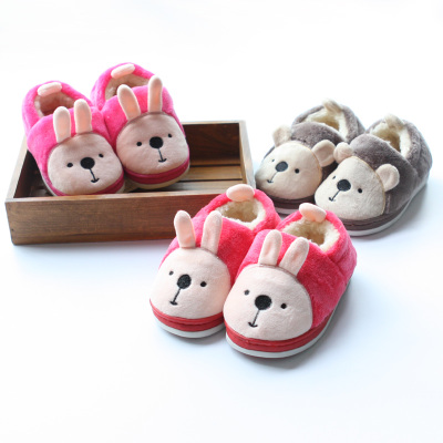 The new children's winter home cute bunny shoes & amp; male and female baby bear plush thick warm cotton-padded shoes