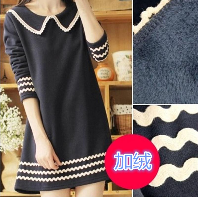 Футболка Плюс размер свитер с длинным рукавом дамы носить длинные корейской версии потоков в теплой зимней одежды и утолщенные шерсть базы рубашку t рубашка