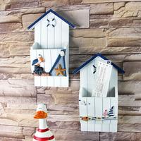 地中海风格信插 木质收纳盒钥匙盒 墙壁装饰置物架 家居壁