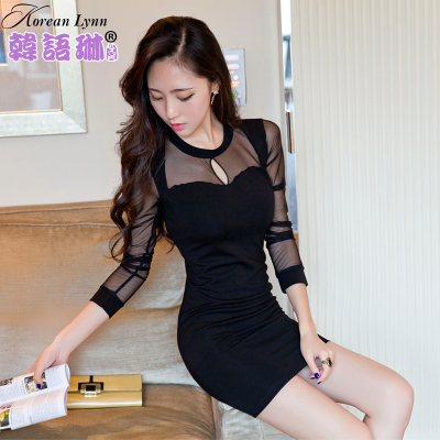 Lin 2014 fall and winter clothes new Korean women sexy ladies perspective Slim package hip long-sleeved dress bottoming child