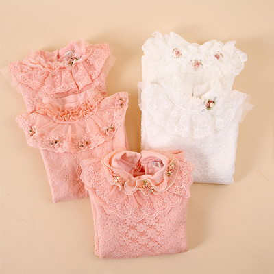 2014 Cotton Flax cotton girls bottoming shirt plus thick velvet lace long-sleeved turtle neck T-shirt for children