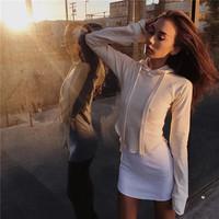 欧美AA风高腰露脐短款宽松卫衣纯色薄上衣套头连帽运动长袖T恤女