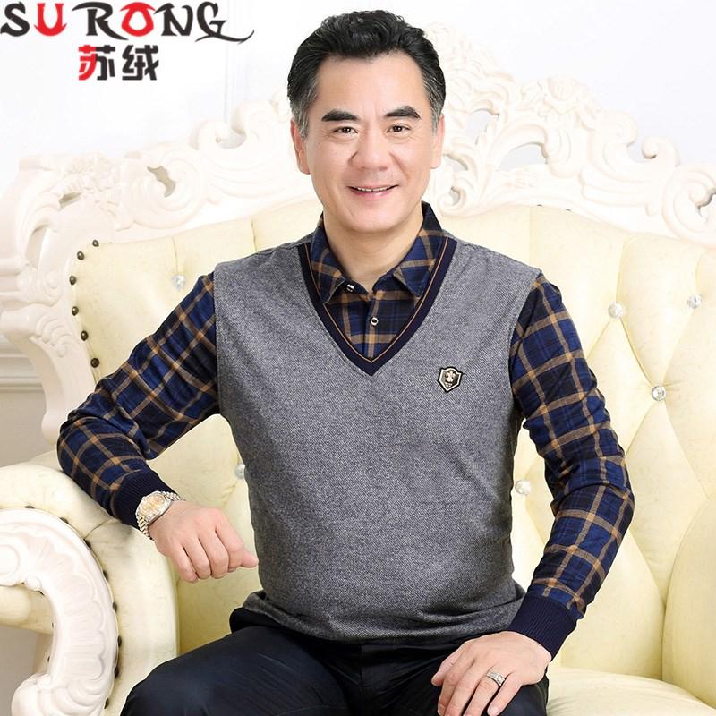 秋冬装假两件上衣服中年男士长袖t恤中老年男装衬衫领爸爸装加绒