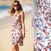 2014夏季新款 清新蜻蜓印花连衣裙 海边渡假沙滩裙 风情吊带裙