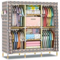 无纺布衣柜 实木简易衣柜木衣柜实木牛津布衣柜简易布艺木质衣柜