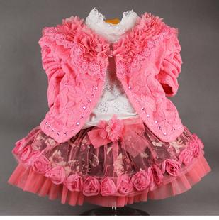 童装女童秋装2015新款0-1-2岁儿童公主裙三件套宝宝秋季套装