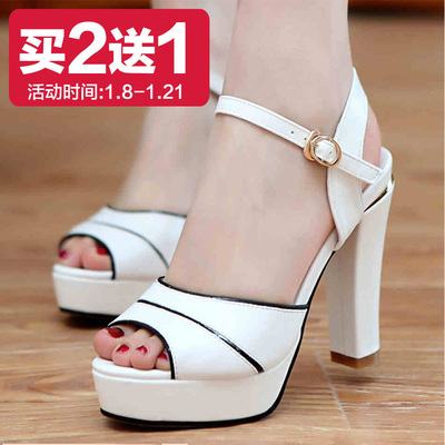 One hundred women sandals high-heeled sandals fish head sandals 2014 new Li Shexia season thick with waterproof sandals