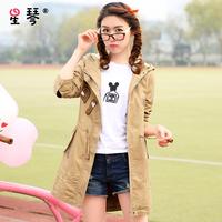 青少年女装少女春装15岁韩版大码初中学生中长款宽松连帽风衣外套
