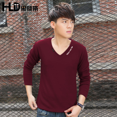 Black Tie 2014 new winter men's casual long-sleeved t-shirt solid color base shirt tide Korean Slim V-neck men's