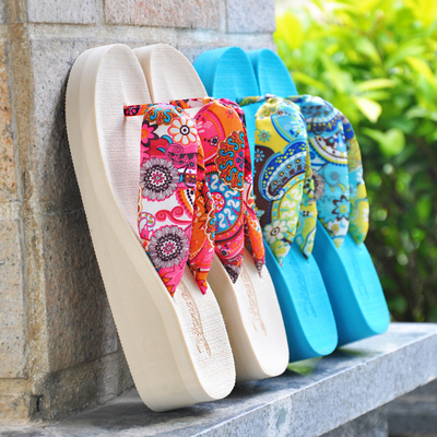 In Bohemia with satin sandals summer wedges ladies sandals heavy-bottomed sandals and slippers dragging folders tide Korea