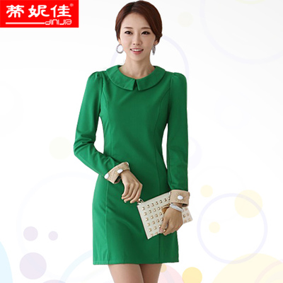 Dini Jia 2014 winter new Korean women doll collar long-sleeved career significantly thin fresh autumn dress