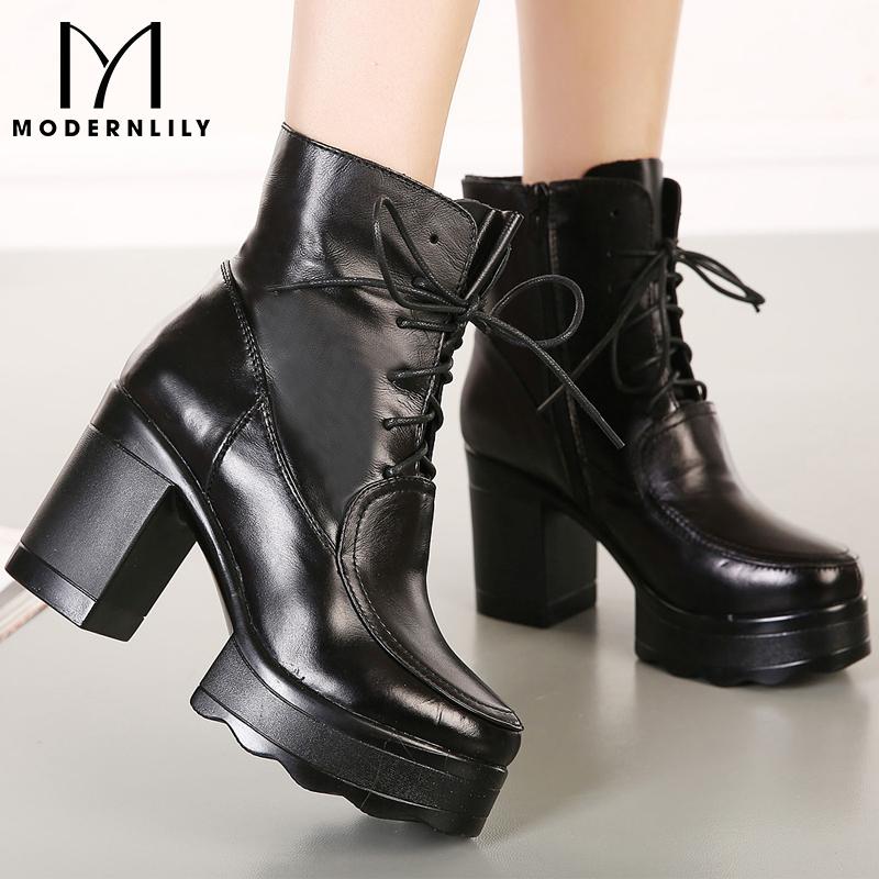 马丁靴女英伦风高跟_2014真皮马丁靴 女黑色特价粗跟马丁靴 女英伦风系带短筒高跟女靴