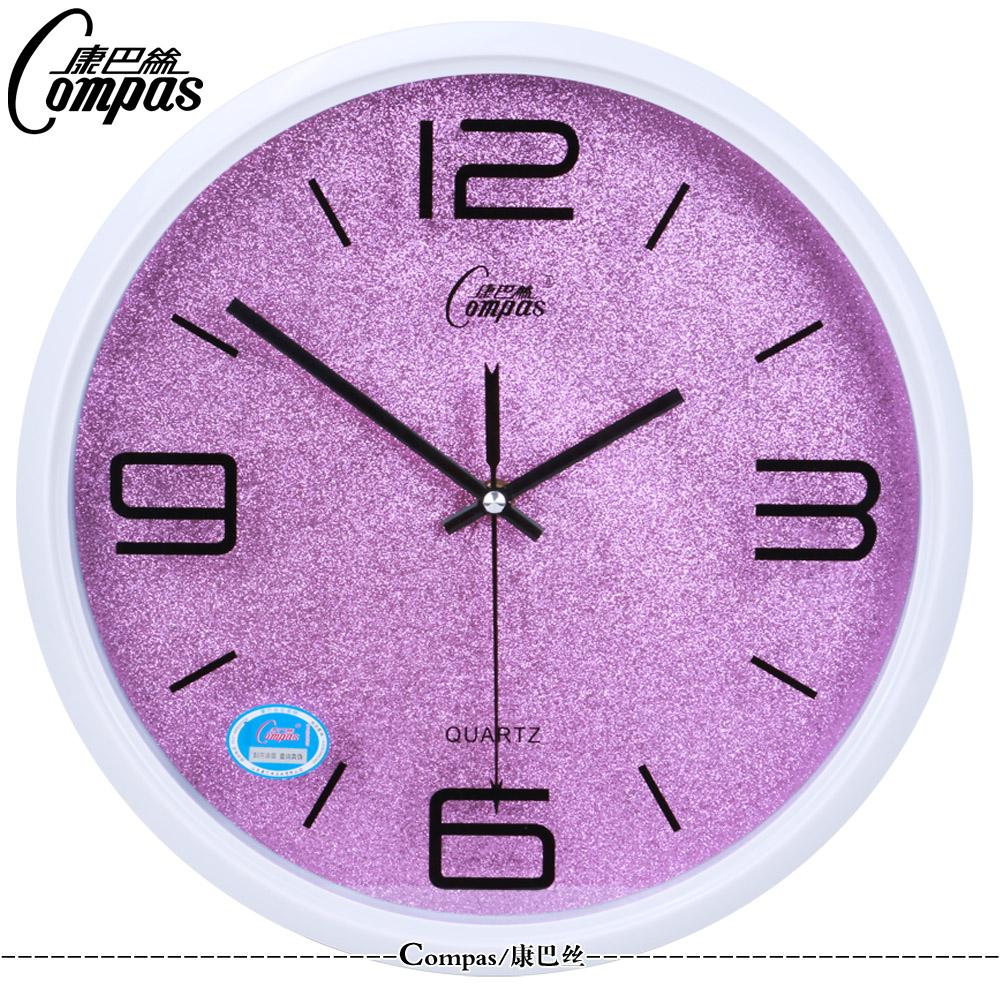 康巴丝14英寸挂钟创意时尚个性欧式简约石英钟静音时钟钟表正品