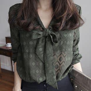 韩国正品女装2016春新款韩版宽松V领系带长袖雪纺打底单排扣衬衫