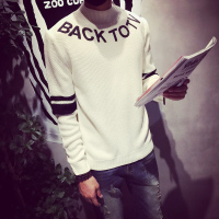 新款男装冬季韩版羊毛衫 针织个性字母印花半高圆领套头百搭毛衣