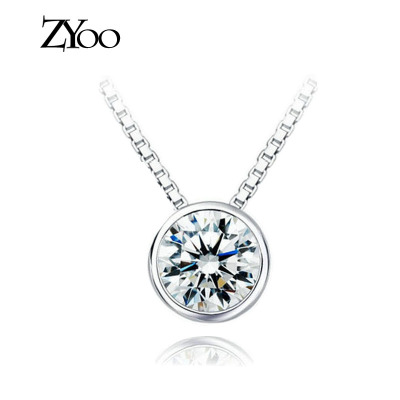 zyoo round diamonds flash diamond inlaid zircon pendant 925 silver necklace pendant wild summer fashion style accessories