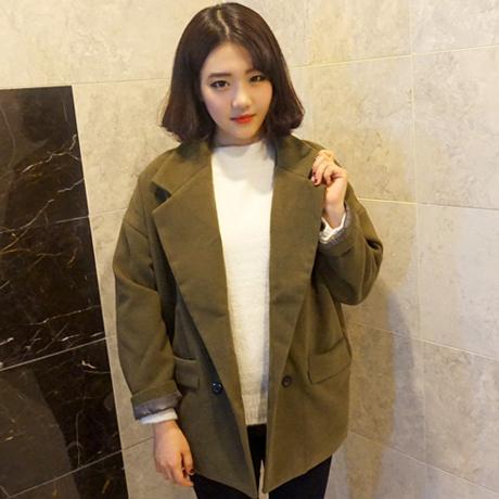 女外套_2015冬装新款女装短款毛呢外套女呢子大衣韩版宽松羊绒学生学院风