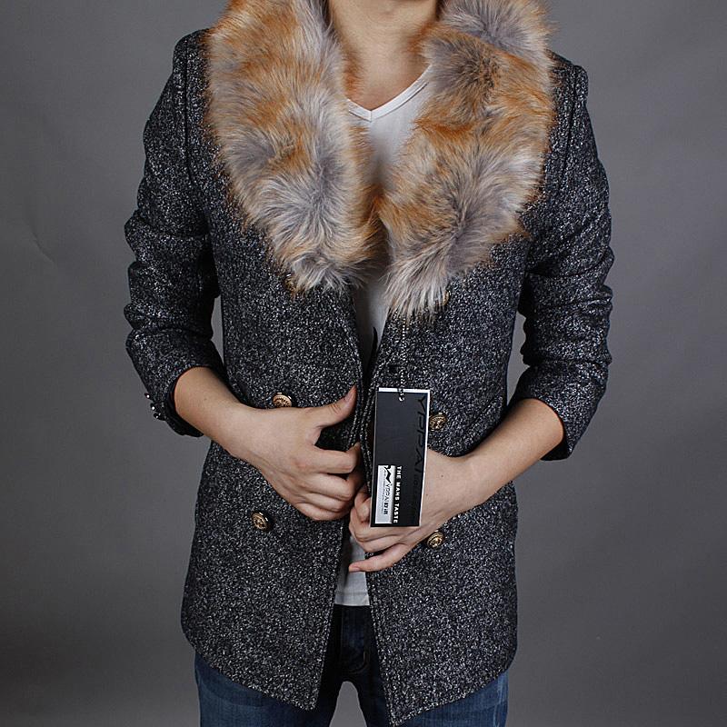 2014秋冬热销男士韩版风衣大毛领风衣男款短款风衣外套美特斯邦威