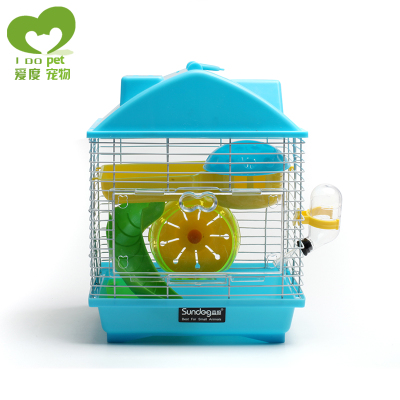 Free shipping cages hamster cage hamster cage supplies villa double rainbow pink and blue hamster luxury