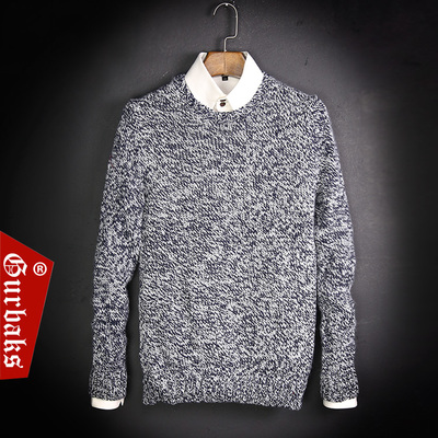 Guk men's sweater 2015 autumn and winter new Korean men's round neck sweater hedging wool coat male tide