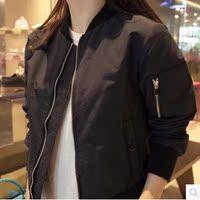 韩版2016秋冬新款飞行员短夹克衫女百搭宽松加厚外套短款棒球服