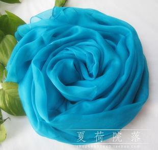 2米超长款湖蓝纯色真丝桑蚕丝丝巾纱巾 女士围巾披肩两用春秋冬季