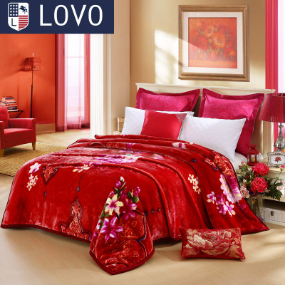 lovo Carolina New goods produced in autumn and winter plush bed blankets double thick Raschel blanket rich flowers