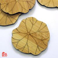 楠竹雕刻荷叶纹专业功夫茶道杯垫定制礼品竹子隔热垫满99元包邮