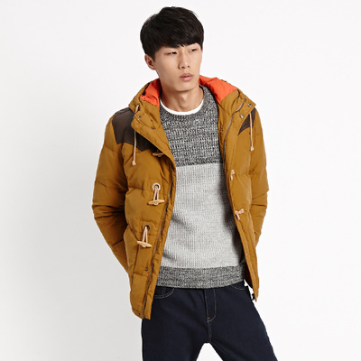 2014 winter new Metersbonwe male shoulder leather hooded down jacket 238490