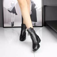 2015秋冬新款妙姿真皮短靴女平底方跟低跟3C3D2搭扣靴子3C3D9