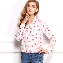 The new spring and summer 2015, Europe and the United States women's wear loose big yards shirt Collar long sleeve top Printed chiffon shirt