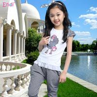 10-13-16岁女童夏装套装英伦女孩格子短裤短袖两件套薄款儿童套装