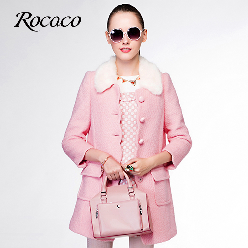 洛可可2014冬季新款女装 小香风气质优雅大衣修身中长款毛呢外套