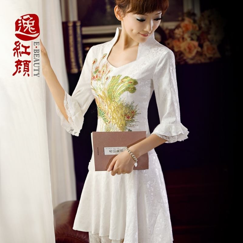 Plaza beauty lace cheongsam Phoenix improved MIDI 2014 autumn fashion dress retro elegance slim