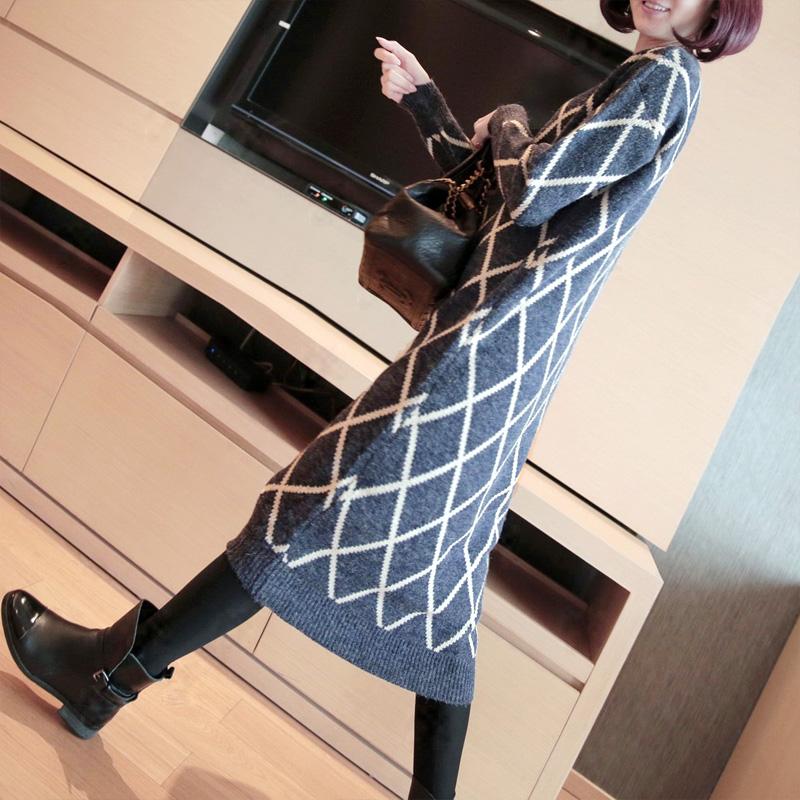 春装超长款套头毛衣裙女格子宽松大码中长款打底针织连衣裙长裙秋