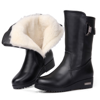 冬季女式真皮中筒女棉靴中老年加厚羊毛棉鞋防滑平跟妈妈皮靴子女