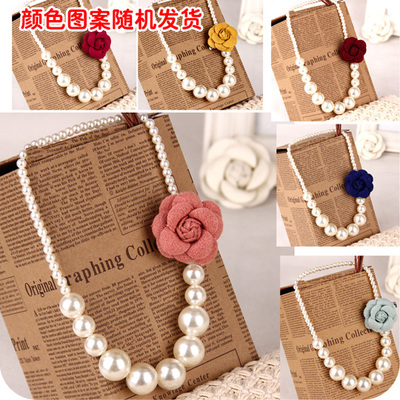 Sweet girls long chain necklace Korean children acrylic beads decorated with jewelry pendant chain of clothing 860