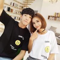 韩国学院风Ulzzang情侣笑脸表情印花短袖T恤女学生上衣闺蜜装班服