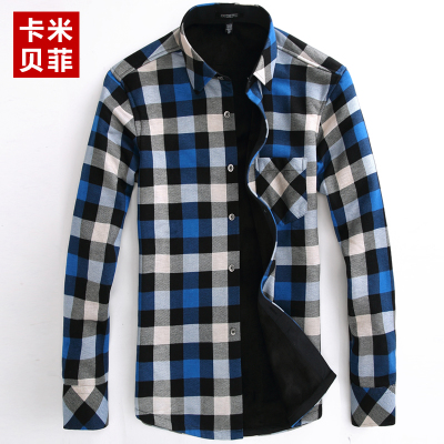 Kamibeifei men warm shirt men plus thick velvet plaid long-sleeved thermal shirt Slim Young Men