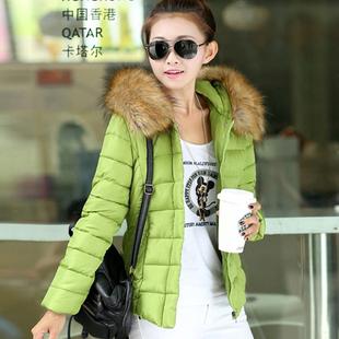 2014冬款棉衣外套 女保暖修身毛领大码冬装短款棉袄 韩版 潮